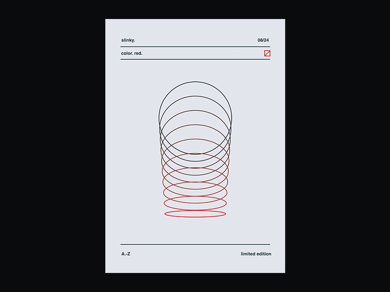 Fragment 45 poster red slinky minimal abstract