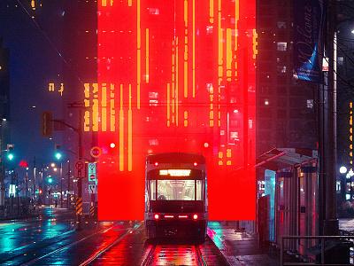 Fragment 66 digital cyberpunk street night station city hall train glitch effect glitchart glitch illustration abstract