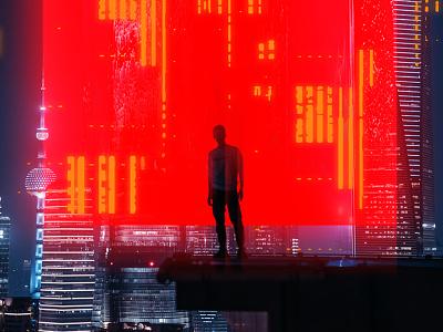 Fragment 75 standing mysterious red light light box man cyberpunk skyscraper night city glitch effect glitch art glitch