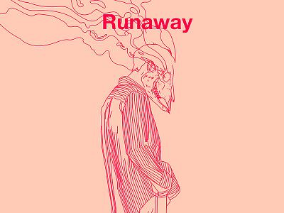 Fragment 99 runaway shirt fashion smoke scary cow skull skull boy body form lines laconic illustration composition abstract minimal