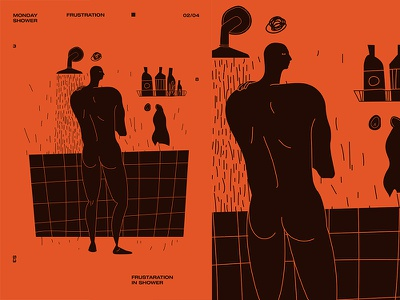Fragment 209 frustration monday morning shower man layout fragment grid poster challenge poster a day form poster illustration laconic composition abstract minimal