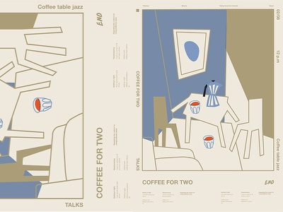 Coffee For Two interior chairs chemex cups coffee fragment poster art poster challenge poster a day form lines poster illustration laconic composition abstract minimal