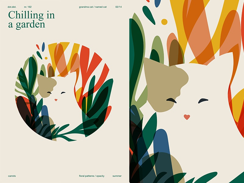 Grandma Cat cute grid layout garden floral pattern floral cat san serif fragment poster art poster challenge poster a day form poster illustration laconic composition abstract minimal