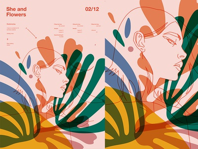 She   Flowers floral pattern floral art floral flowers sexy grid fragment layout girl poster art poster challenge poster a day form lines poster illustration laconic composition abstract minimal