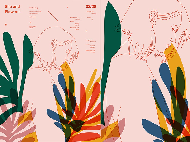 Casual Flowers grid floral pattern floral background floral fragment girl layout poster art poster challenge poster a day form lines poster illustration laconic composition abstract minimal