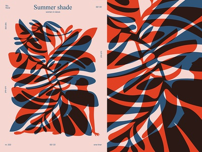 Summer Shade cut out floral pattern floral background leaf flower women summer body layout poster art poster challenge poster a day form lines poster illustration laconic composition abstract minimal