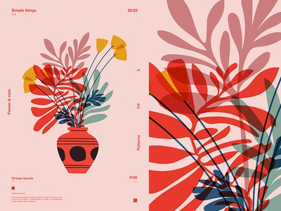 Flowers   Vaze vaze floral flowers grid fragment layout poster art poster challenge form poster a day lines poster illustration laconic composition abstract minimal