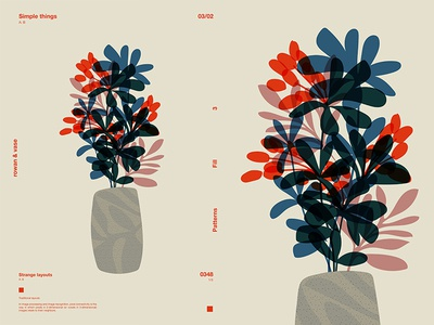 Vase Full Of Rowans flowers floral background floral art floral vase rowan layout poster art poster challenge poster a day form poster illustration laconic minimal composition abstract lines