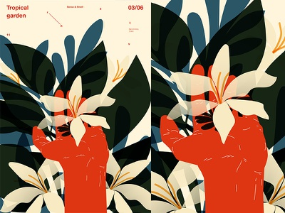 Tropical Garden floral pattern hand flowers fragment girl layout poster art poster challenge poster a day form lines poster illustration laconic composition abstract minimal