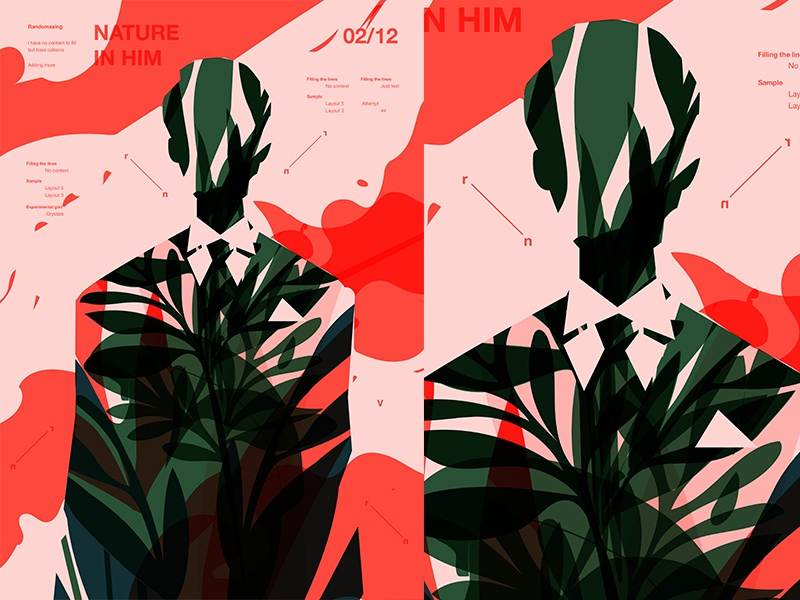 Nature In Him smokes floral background flower floral man fragment layout poster art poster challenge poster a day lines poster illustration laconic composition abstract minimal