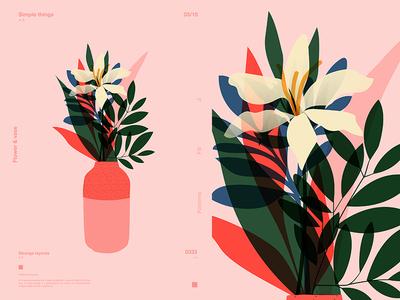 Flower   Vase vase floral art floral design flower fragment layout poster art poster challenge poster a day form lines poster illustration laconic composition abstract minimal