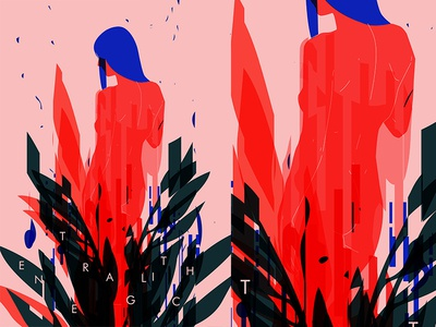 Enter A Glitch floral background floral art floral glitch effect glitchart glitch body girl fragment poster art poster challenge poster a day lines poster illustration laconic composition abstract minimal