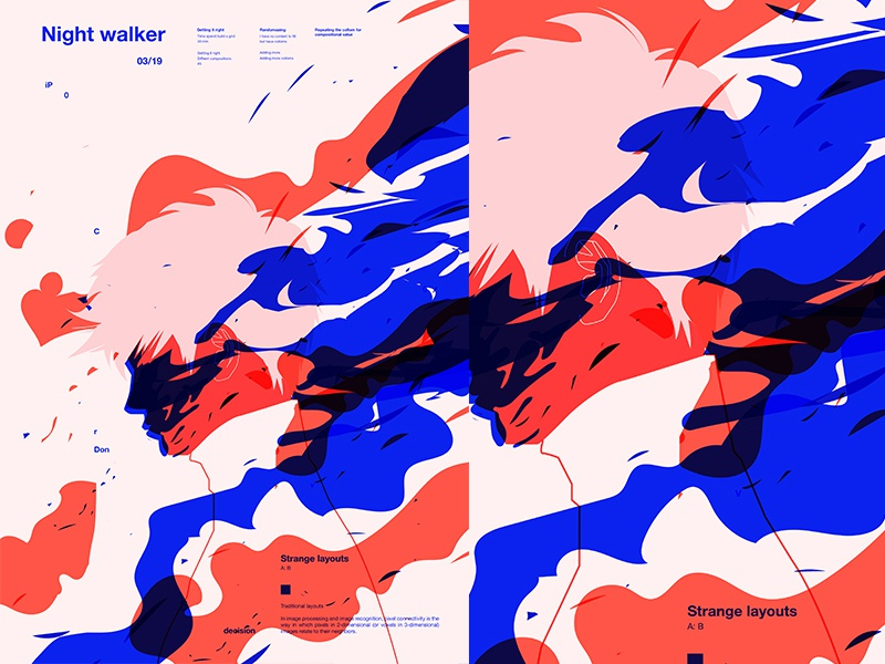 Nightwalker clouds inka splash smokes man fragment poster art poster challenge poster a day form lines poster illustration laconic composition abstract minimal