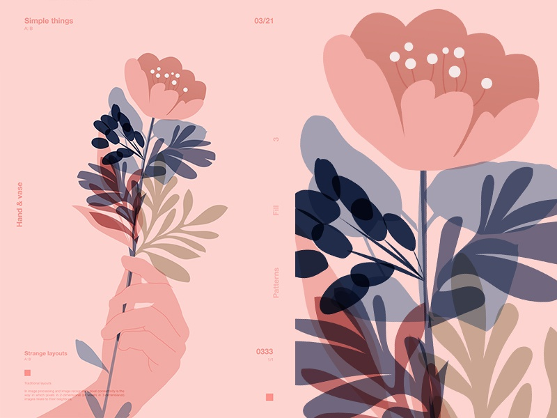 Hand   Flower floral design flowers hand layout poster art poster challenge poster a day form lines poster illustration laconic composition abstract minimal