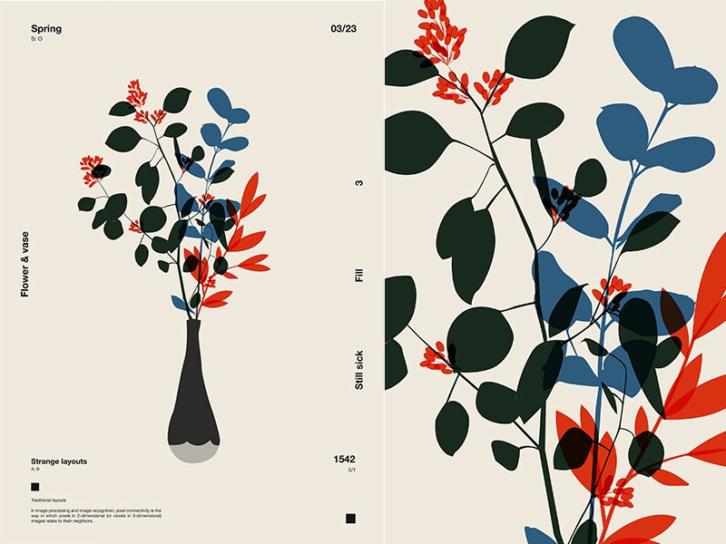 Start Of Spring floral branch flowers fragment layout poster art poster challenge poster a day form lines poster illustration laconic composition abstract minimal