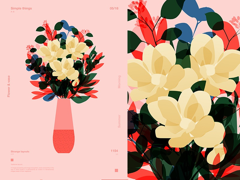 Summer Flowers floral background floral layout fragment poster art poster challenge poster a day form lines poster illustration laconic composition abstract minimal