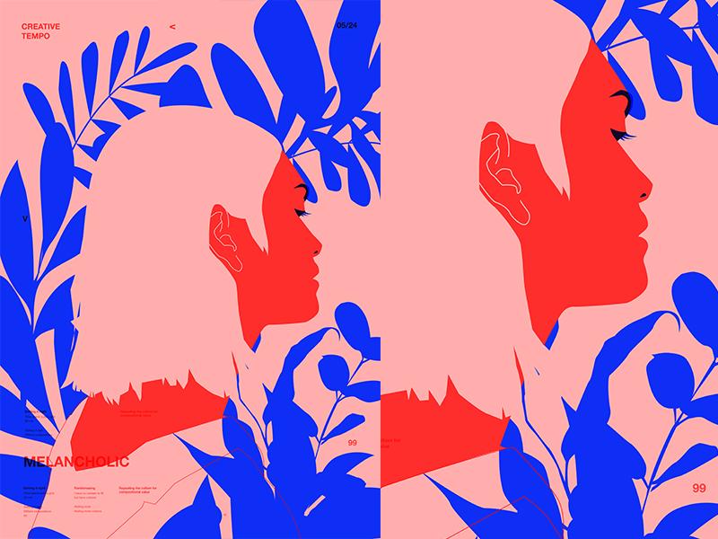 Melancholic girl illustration flowers floral background floral girl grid layout fragment poster art poster challenge poster a day form lines poster illustration laconic composition abstract minimal