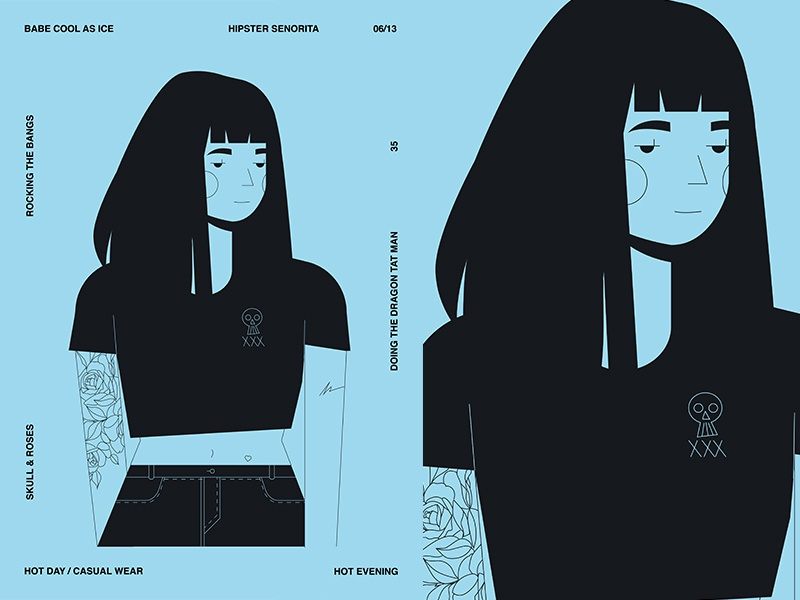 Rocking Bangs girl illustration girl character tattoo girl layout fragment poster art poster challenge poster a day form lines poster illustration laconic composition abstract minimal