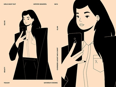 Girls Night Out charecter design girl illustration grid girl layout fragment poster art poster challenge poster a day form lines poster illustration laconic composition abstract minimal