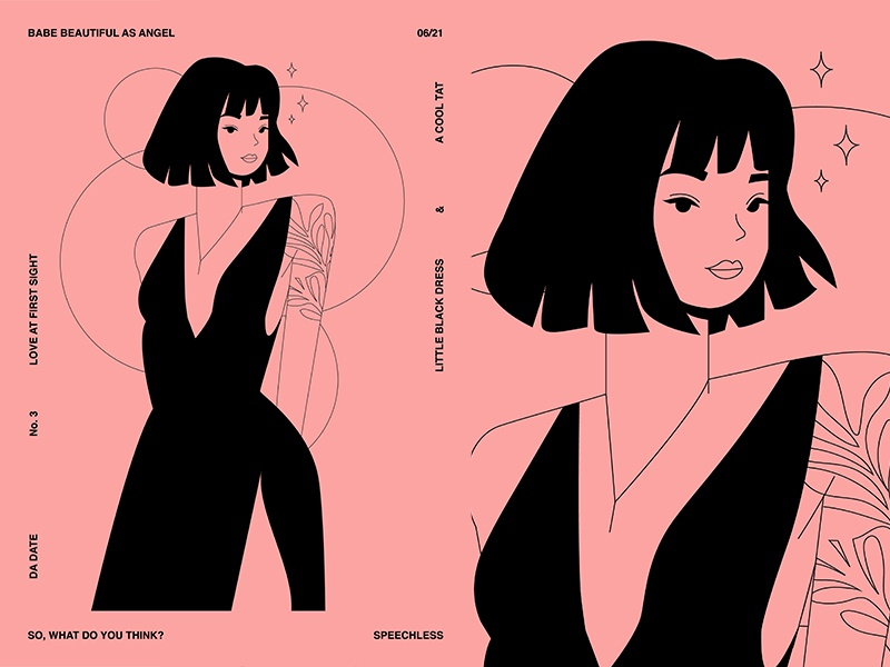 Love At First Sight sexy beauty charecter design girl illustration charecter grid girl layout fragment poster art poster challenge poster a day form lines poster illustration laconic composition abstract minimal