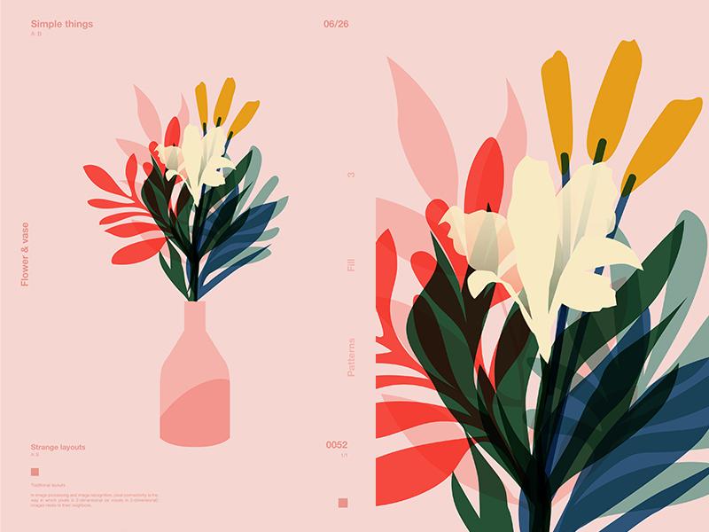 Transperant Flowers vase flowers floral background floral layout poster art design poster challenge poster a day form lines poster fragment illustration laconic composition abstract minimal