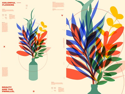 Colorful Flowers flowers floral background floral layout fragment poster art poster challenge poster a day form lines poster illustration laconic composition abstract minimal
