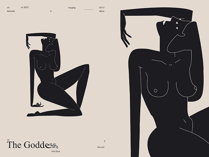 The Goddess cutout figure girl illustration body girl layout fragment poster art poster challenge poster a day form lines poster illustration laconic composition abstract minimal