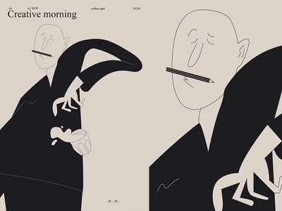 Creative Morning body spill coffee morning man layout fragment poster art poster challenge poster a day form lines poster illustration laconic composition abstract minimal