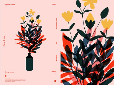 Flower And Vase vase flowers floral background floral layout fragment poster art poster challenge poster a day form lines poster illustration laconic composition abstract minimal