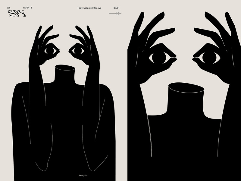 I spy with my litle eye lines eye spy man fragment layout poster art illustration laconic composition abstract minimal