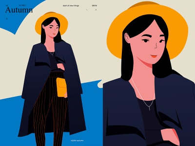 Autumn style character design girl fragment poster art lines illustration laconic composition abstract minimal
