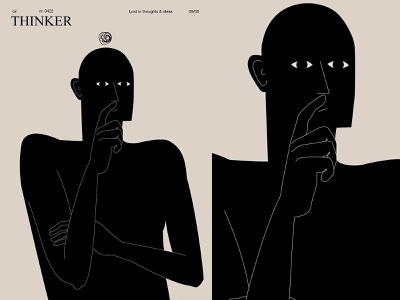 Thinker hands modern thinker man layout form poster art laconic illustration composition abstract minimal