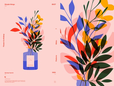 Flowers and whiskey floral illustration floral layout fragment poster art lines illustration laconic composition abstract minimal
