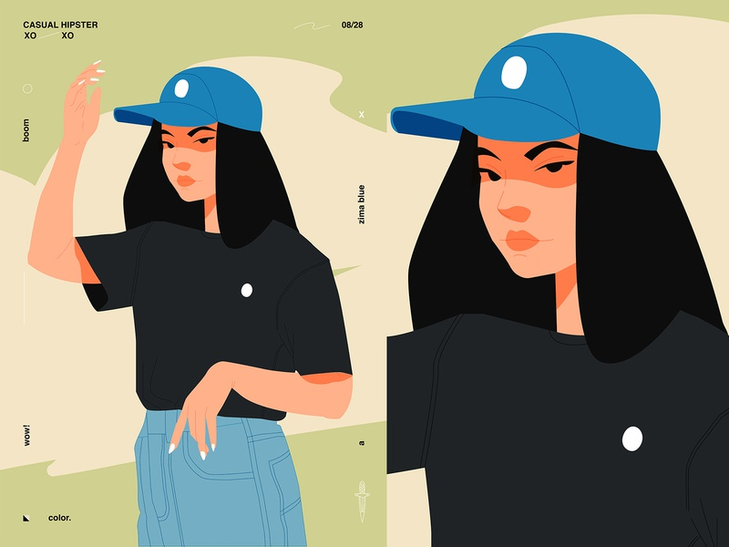 Casual hipster fragment poster challenge hipster girl illustration character design poster art illustration laconic composition abstract minimal