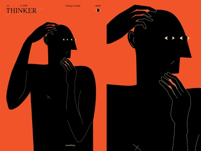 Thinker fragment layout poster a day poster art poster illustration laconic composition abstract minimal