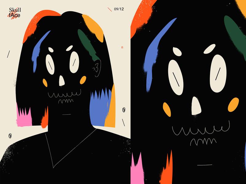 Skull face splash cartoon illustration face skull girl layout poster lines poster art illustration laconic composition abstract minimal