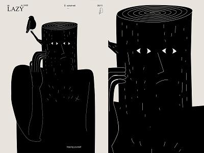 Lazy stump bird tree man fragment poster art lines poster illustration laconic composition abstract minimal