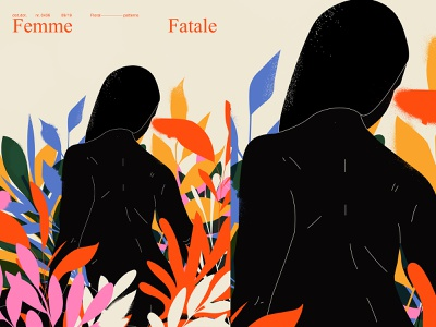 Femme fatale woman illustration floral pattern floral woman poster art lines poster illustration laconic composition abstract minimal