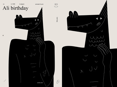 Ali birthday art poster every day animal aligator poster art lines poster laconic illustration composition abstract minimal