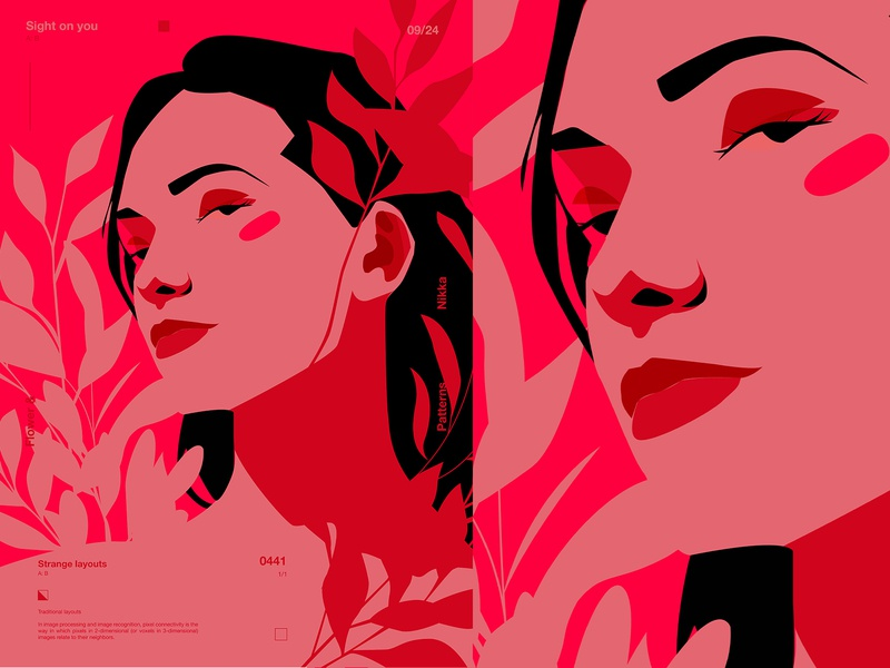 Sight locked on you vector illustration florals floral girl illustration portrait poster art lines poster illustration laconic composition abstract minimal