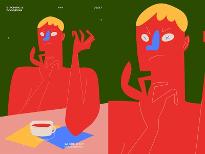 Gossiping blonde man coffee cafe gossip charecter design everyday poster art poster illustration laconic composition abstract minimal