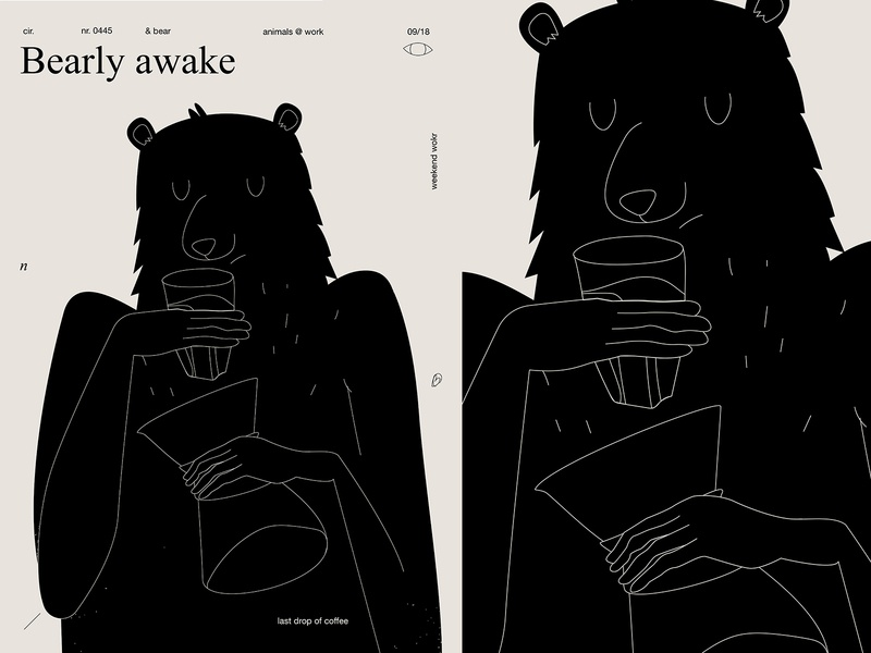 Bearly awake awake sleep chemex coffee bear fragment lines poster illustration laconic composition abstract minimal