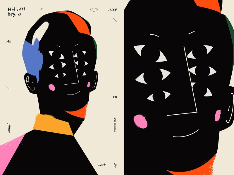 Hello poster a day poster challenge framgents splash eyes lines poster illustration laconic composition abstract minimal