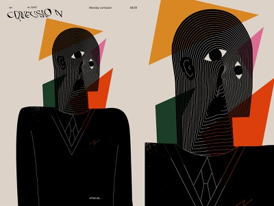 Confusion monday confusion confused layout fragment poster art lines poster illustration laconic composition abstract minimal