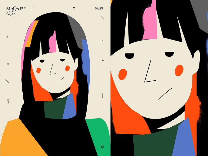 Strange mood spray portrait illustration girl portrait fragment poster art lines poster illustration laconic composition abstract minimal