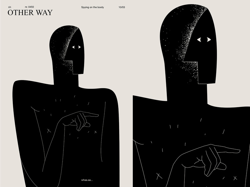 Other way spying hand man poster art lines illustration laconic composition abstract minimal poster
