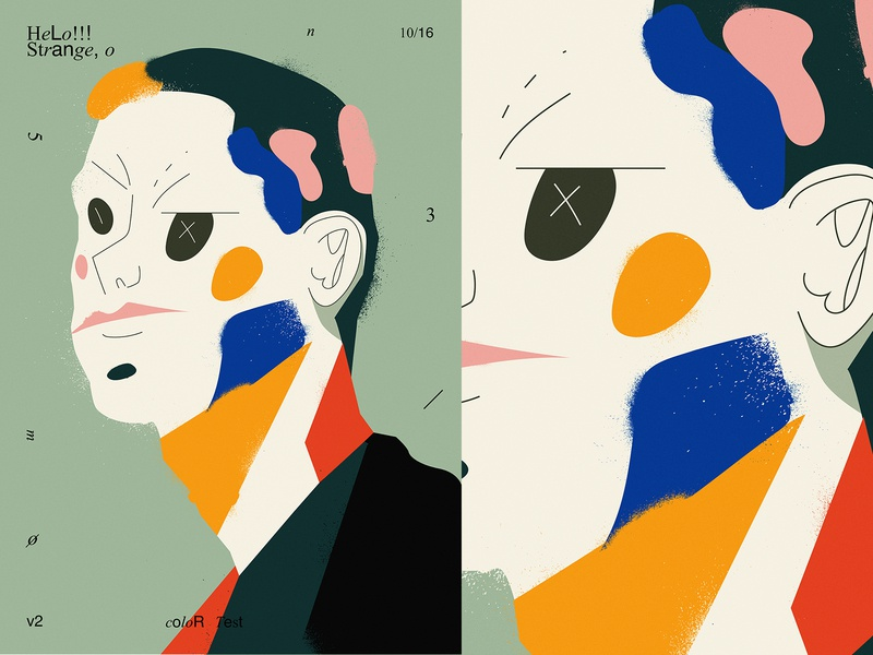 Strange portrait poster art poster a day test texture portait lines poster illustration laconic composition abstract minimal