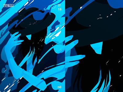 Ego flow hat girl illustration splash lines poster illustration laconic composition abstract minimal