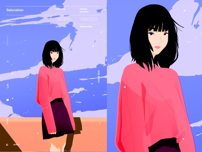 Saturation fragment poster art saturation sky girl character girl illustration poster illustration laconic composition abstract minimal