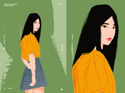 Friday sketch girl illustration charecter design character lines poster illustration laconic composition abstract minimal